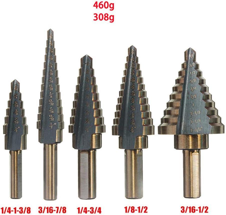Cobalto HSS M/últiple Agujero Acero De Alta Velocidad Paso Broca Conjunto 5pcs Titanio Bit Paso Taladro Con Funda De Aluminio