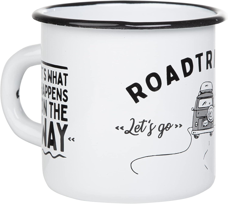Mugsy Taza esmaltada Mugsy con diseño de campervan y texto en diseño exterior, resistente a la rotura y ligera para camping y Vanlife | taza de café ...