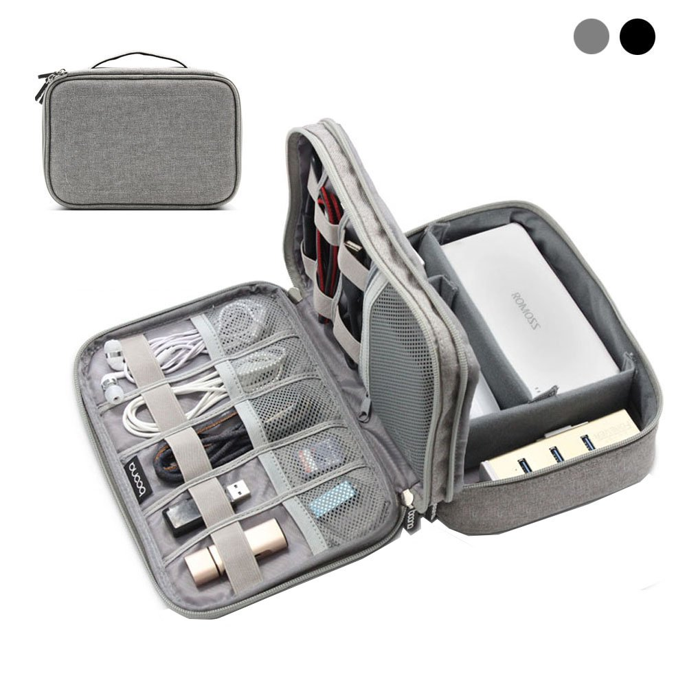 BOONA Double Layer Electronics Organizer,Travel Electronics Accessories Storage Bag, for Cables, USB Flash Drive, Plug and More, Perfect Size Fits for iPad Mini (Gray)