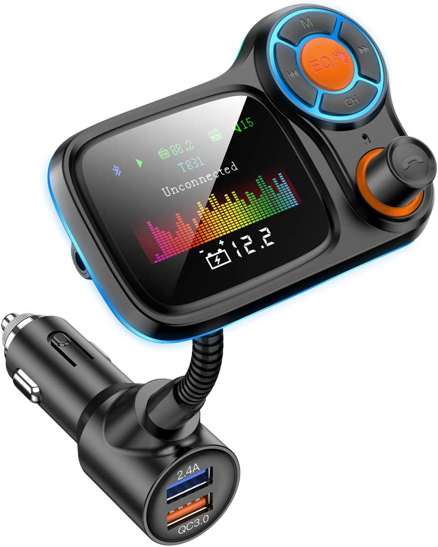 Car Bluetooth Radio Adapter Receiver,Vehicle HandsFree Call FM Transmitters,QC3.0 and Smart 2.4A Dual USB Charger,1.8 Color Display,Aux Port,TF Card USB Mp3 Music Player