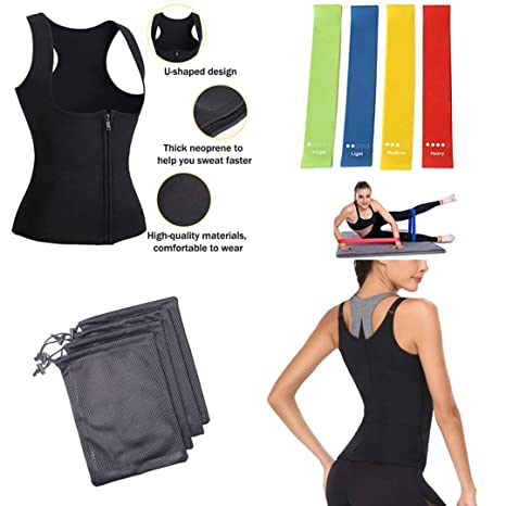 70b6bec18f8 GC Company Women Waist Trainer Vest Slim Corset Neoprene Sauna Tank Top  Zipper Weight Loss Body Shaper Shirt Woman