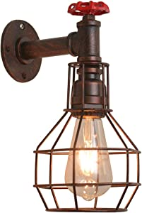 Wall Sconce Industrial Water Pipe Wall Lamp ,Wall Lights Steampunk Light Fixture E26 Edison for Industrial lamp Decor,Farmhouse Decor ,Bedroom