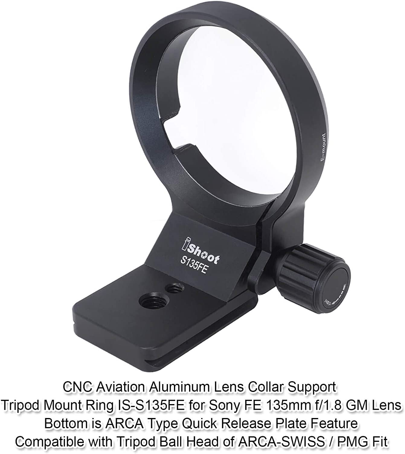 Compatible with Tripod Ball Head of Arca-Swiss PMG SUNWAYFOTO Wimberley iShoot Camera Lens Collar Support for Sony FE 135mm f//1.8 GM Lens Tripod Mount Ring Built-in Quick Release Plate