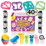 bento box accesories - Complete Bento Lunch Box Supplies and Accessories For Kids - Sandwich Cutter and Bread Crust Shape Remover - Mini Vegetable Fruit Shapes cookie cutters - Silicone Cup Dividers - FREE Food Pick forks