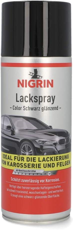 Nigrin 74113 Lackspray Schwarz Glänzender Autolack 400 Ml Schützt Felgen Und Karosserie Vor Rost Schnell Trocknend Auto