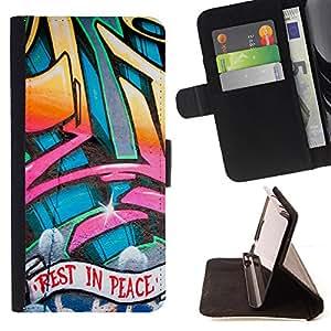 - Rest In Peace Graffiti Skater - Estilo PU billetera de cuero del soporte del tir???¡¯???3n [solapa de cierre] Cubierta- For LG OPTIMUS L90 ( Devil Case )