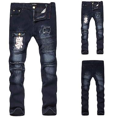 b80bf45bfc49 Jeans Homme,Sonnena Pantalon de Denim Casual Automne Hiver Noir Vintage  Distressed Trou déchiré Jeans