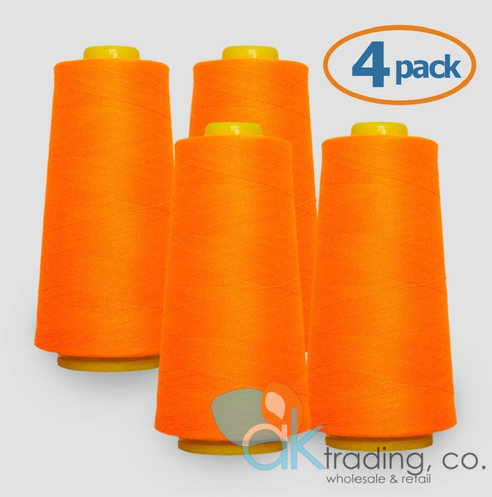 AK-Trading 4-Pack YELLOW Serger Cone Thread 6000 yards each Serger Quilting of Polyester thread for Sewing