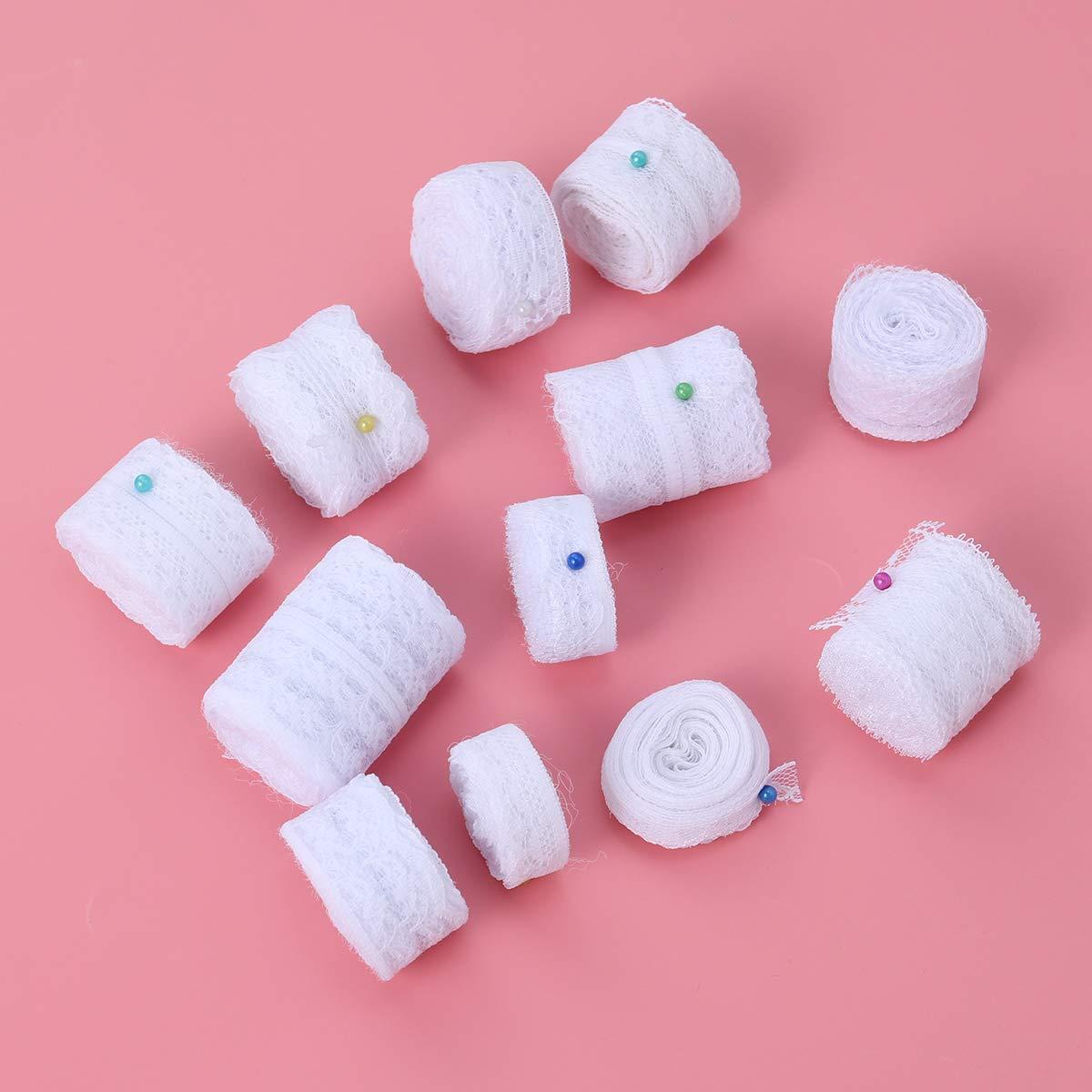 VORCOOL Cinta de Adorno de Encaje Blanco con 12 Diferentes Patrones de Crema Vintage
