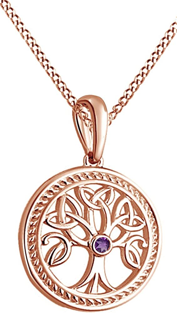 Jewel Zone US Tree of Life Pendant Necklace in 14k Gold Over Sterling Silver