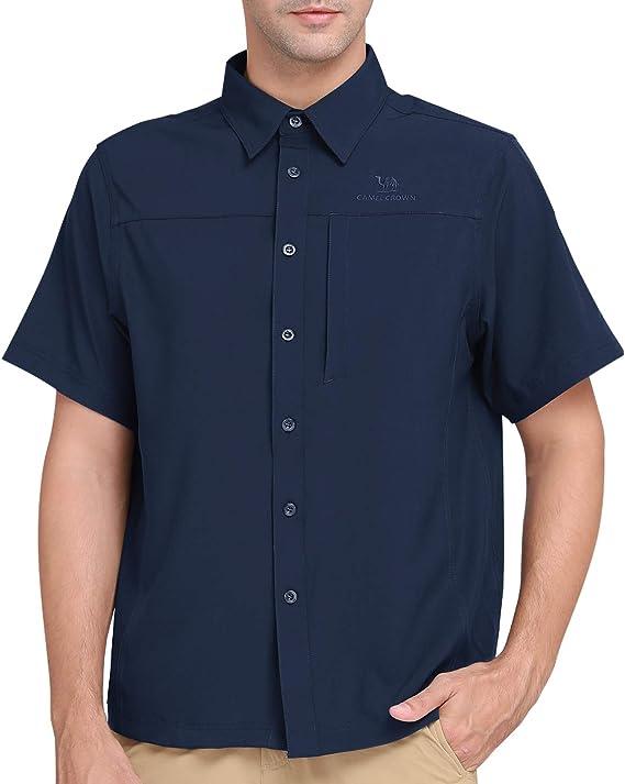 CAMEL CROWN Camisa de Manga Corta de Secado Rápido con Protección UV para Hombres Senderismo Escalada Pesca Exteriores: Amazon.es: Deportes y aire libre