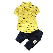 MiyaSudy Toddler Baby Boy Summer Outfits Beard Print Short Sleeve T-Shirts + Shorts 2Pcs Set