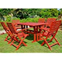 Sciacca Stained Acacia Hardwood Outdoor 7-piece Dining Set