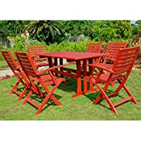 International Caravan Sciacca Acacia Wood Seven Piece Dining Table and Chairs (Barn Red)