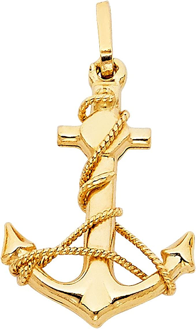 14K Yellow Gold Mariners Cross//Crucifix Pendant on an Adjustable Chain Necklace