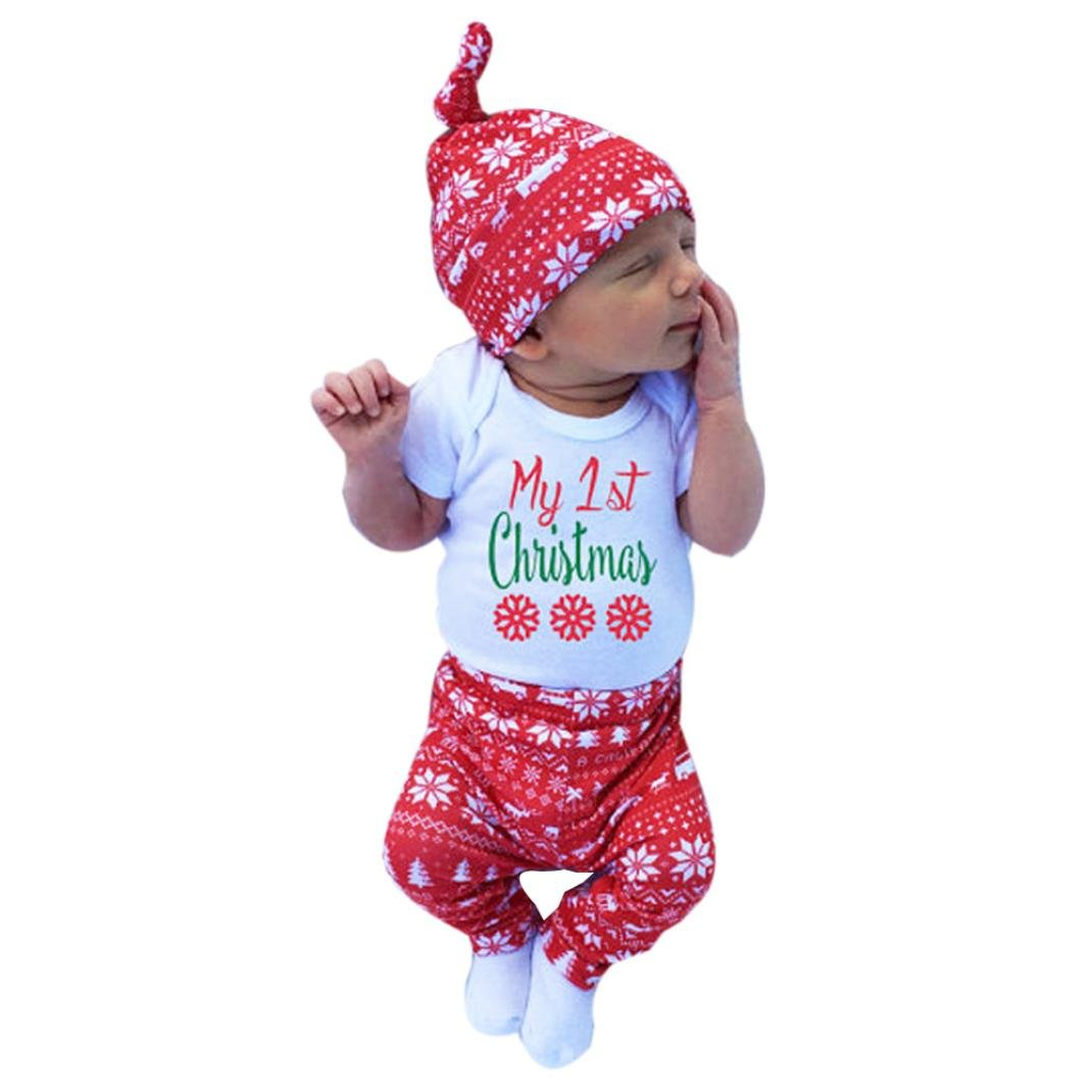 3PCs Toddler Unisex Christmas Clothing set,Vovotrade® Newborn Infant baby Cute Print Outfit(tops +pants+hat) (80 (6-12months), White)