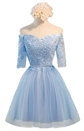 DKBridal Off Shoulder Half Sleeves Lace Aplliques Homecoming Dress Short A  Line Prom Gown Blue 2 b9416f63c