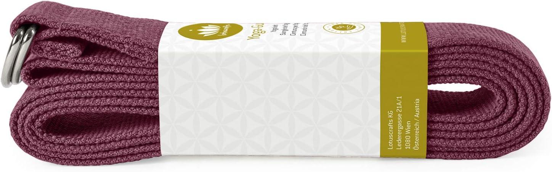 100/% Baumwolle Yoga Gurt mit Verschluss aus Metall - f/ür bessere Dehnung 250 x 3,8 cm f/ür Anf/änger und Fortgeschrittene Lotuscrafts Yogagurt KBA