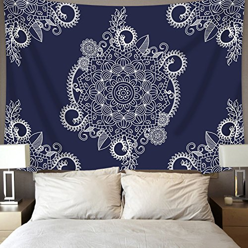 BLEUM CADE Indian Mandala Tapestry Wall Hanging Floral Psychedelic Bohemian Tapestries for Room Dark Blue White Multi Color 59