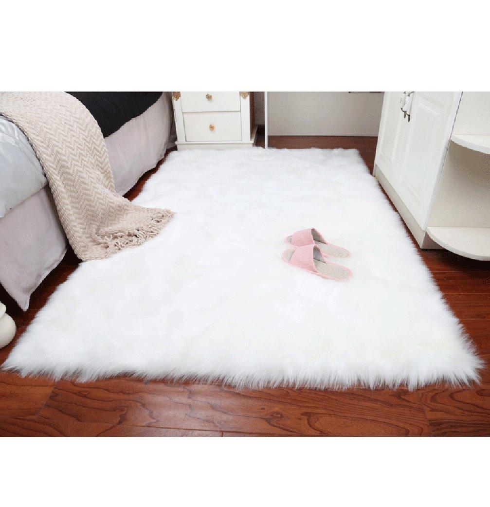 TWGDH Tappeti Shaggy Tappeto Faux Fur Tappeti Pavimenti Fluffy Tappeti Per Camere Soggiorno Camere Bambini Decor, White, 50*80Cm YANG