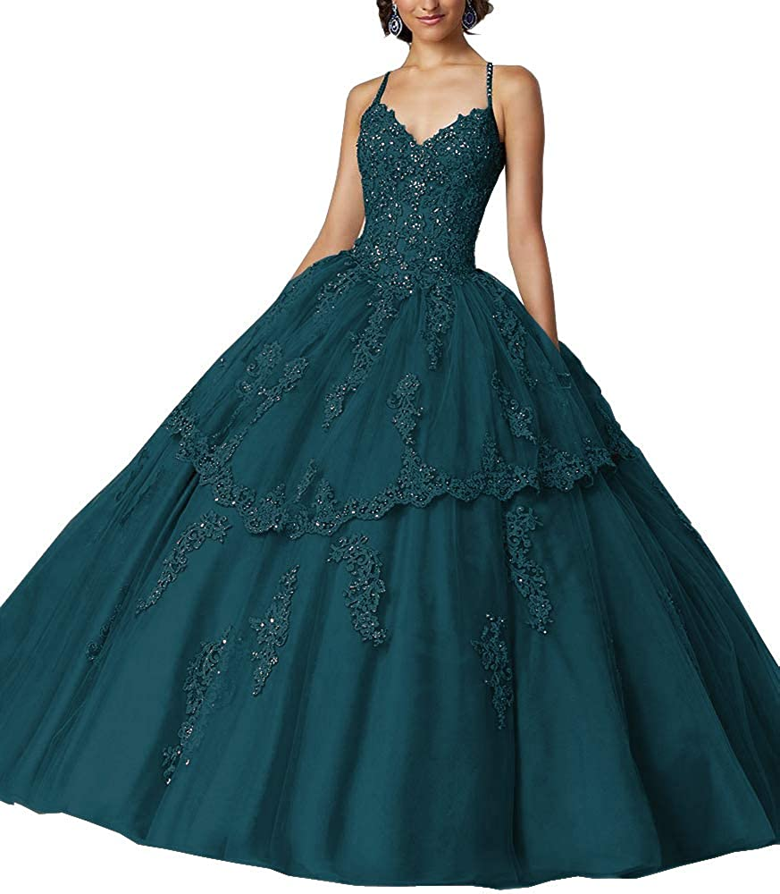 Dark Teal Sweet Bridal Women's Long Spaghetti Straps Open Back Beaded Lace Appliques Quinceanera Dresses Ball Gowns