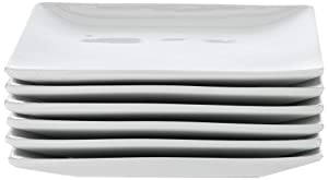 Danxia Salad Plates Porcelain Square 6 Inch - Set of 6, White