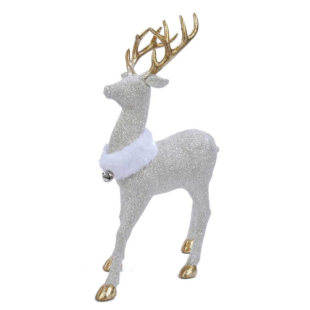 lovely white glitter deer - White Deer Christmas Decoration