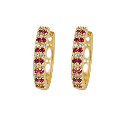 Yazilind 18K Gold Plated Cubic Zirconia Hollow Hoop Huggies Earrings for Women Jewelry Gift L4IDbPqGv4