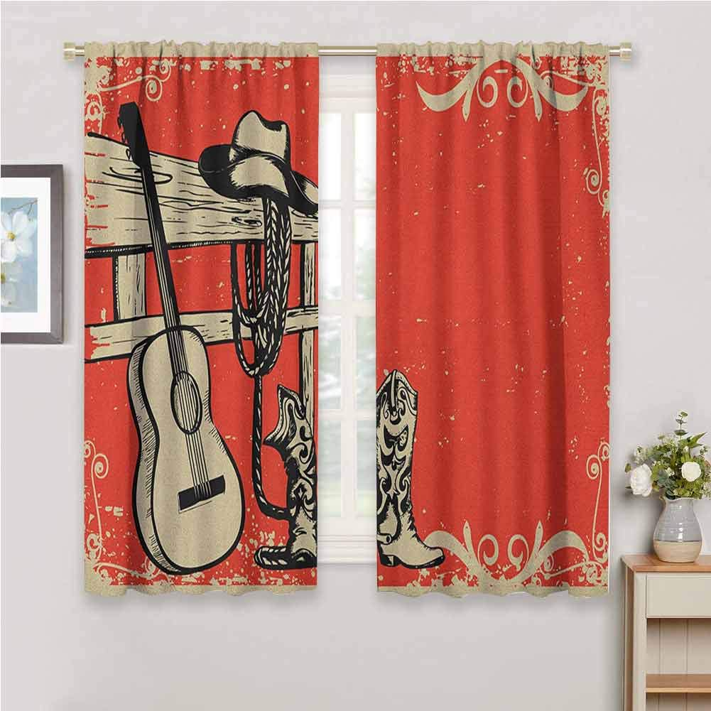 Jinguizi Western Short Curtain Image of Wild West Elements with Country Music Guitar and Cowboy Boots Retro Art Bedroom Curtains Beige Orange 55 x 63 inch by Jinguizi