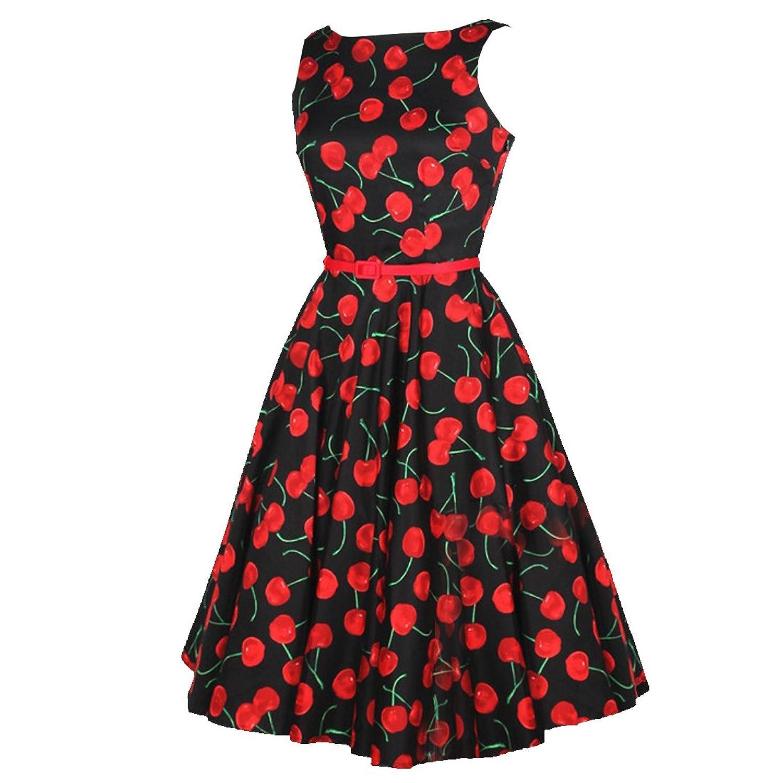 Partiss Damen Frauen Elegant Cherry 50er Vintage Polka Dot ...