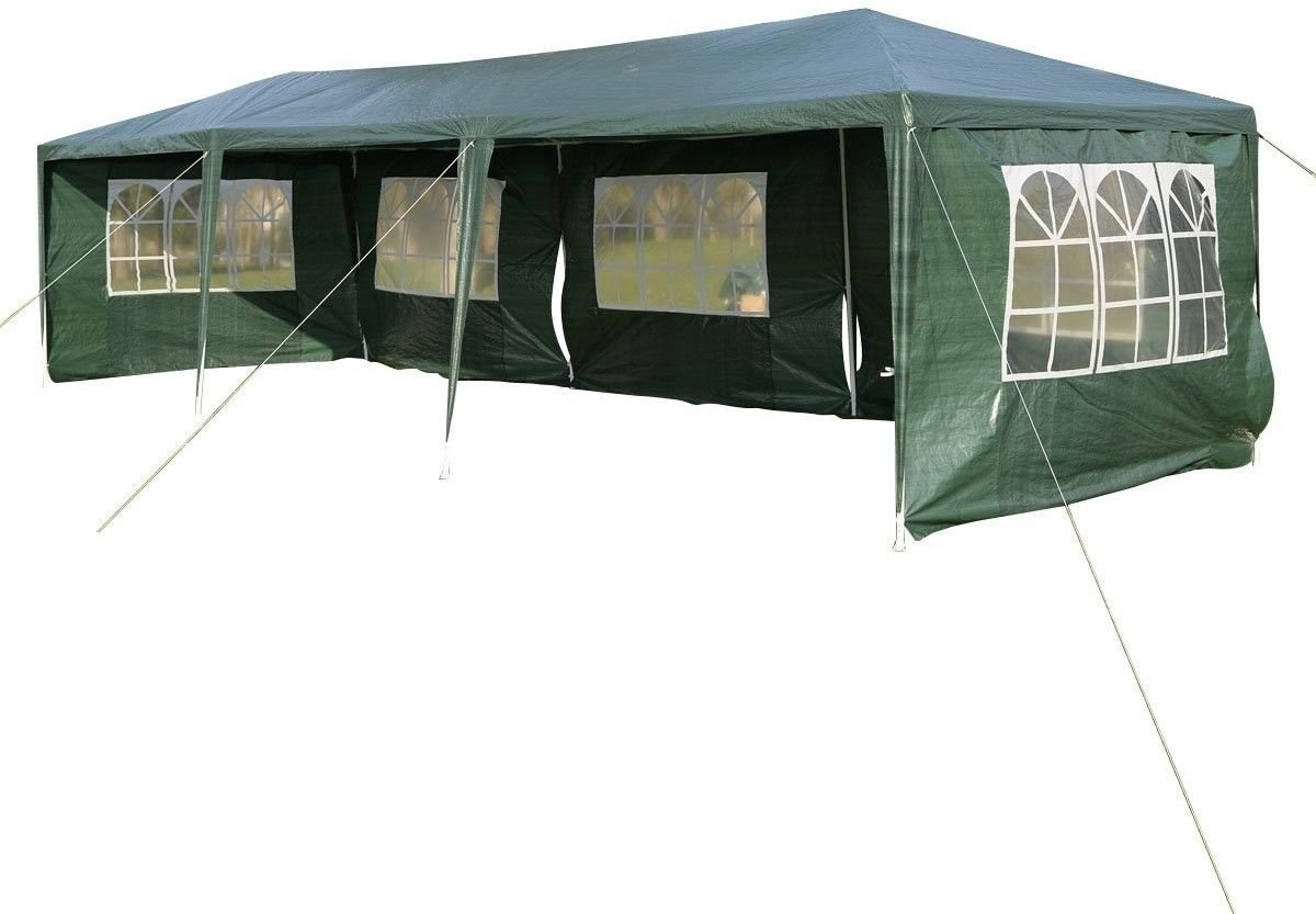 10'x30' White Outdoor Gazebo Canopy Party Wedding Tent 5 Sidewalls Removable Walls (Green)