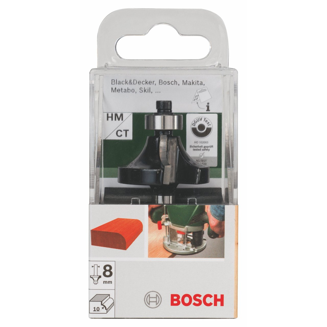 Bosch 2609256604 10mm Rounding Over Bit Two Flutes with Tungsten Carbide and Ball Bearing// 8mm Shank