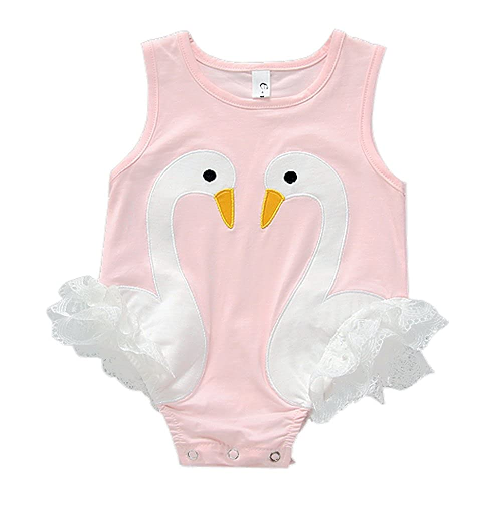 MyCute Baby Girls Clothes Cute Swan Lace Romper Swimsuit One Piece Outfits