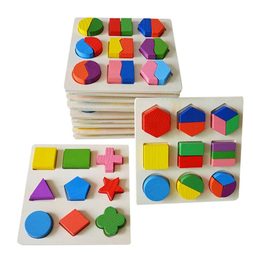 Juguetes del bebé,Niños bebé de Madera Geometría Bloques de Construcción Puzzle Aprendizaje temprano Juguete Educativo LMMVP (15*15*0.5cm, C): Amazon.es: ...