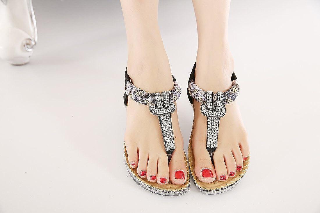 Dreneco Women Bohemian Flat Sandals,Summer Flip-Flops Shoes for Ladies