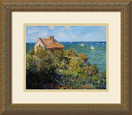 Framed Art Print, 'Fisherman's Cottage on the Cliffs at Varengeville, 1882' by Claude Monet: Outer Size 16 x 14
