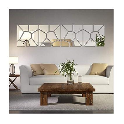Amazon.com: Multi-pieces=4 Squares Modern Design DIY Mirror Effect ...