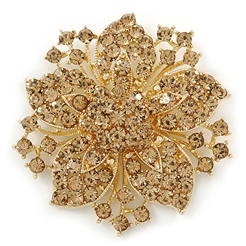 Victorian Style Corsage Flower Brooch In Gold Tone & Champagne Coloured Crystals - 55mm Across (Brooch Swarovski Style Crystal)