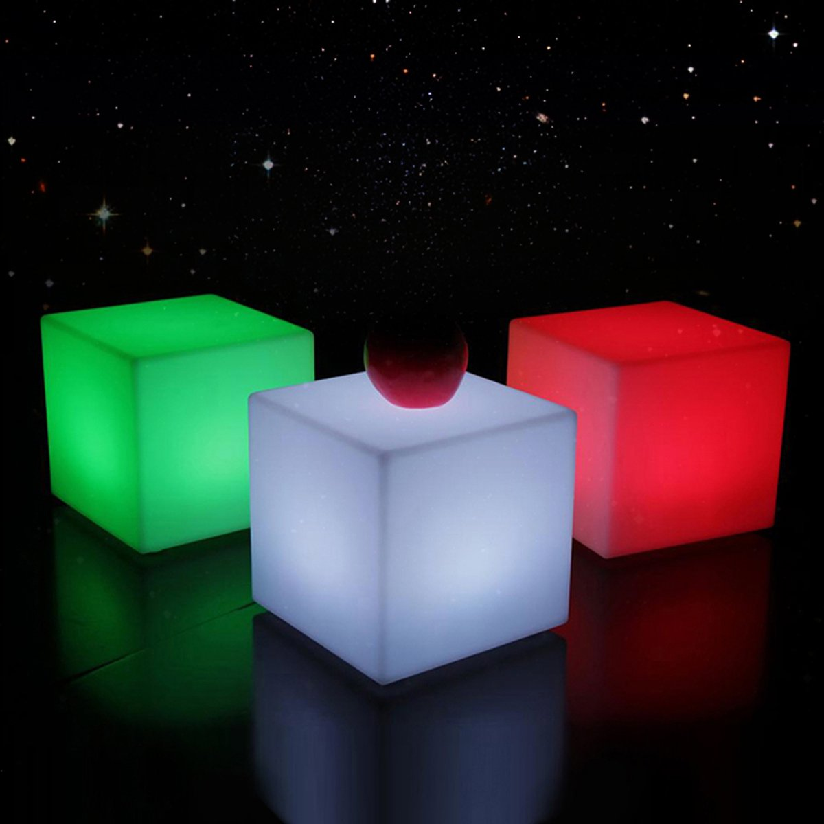 IVG-2020 Colored Lights LED Cube Squaru Quartet Decorative Table Lamp Charging Remote Control IP54 Waterproof Outdoor Garden Party Christmas Decorations (8 inch)