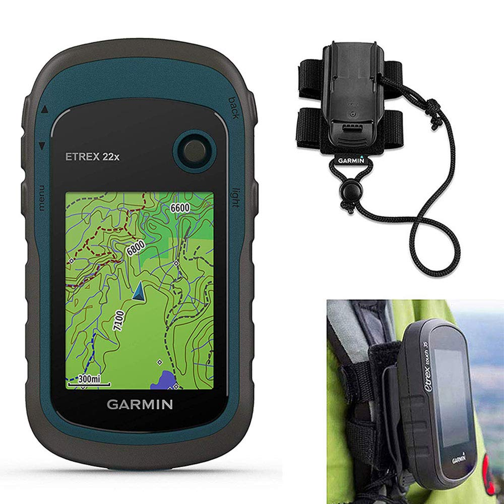 Garmin eTrex 22x Hiking GPS Bundle | with Backpack Tether Mount | GPS/GLONASS Handheld, TopoActive Maps & Button-Operated by PlayBetter