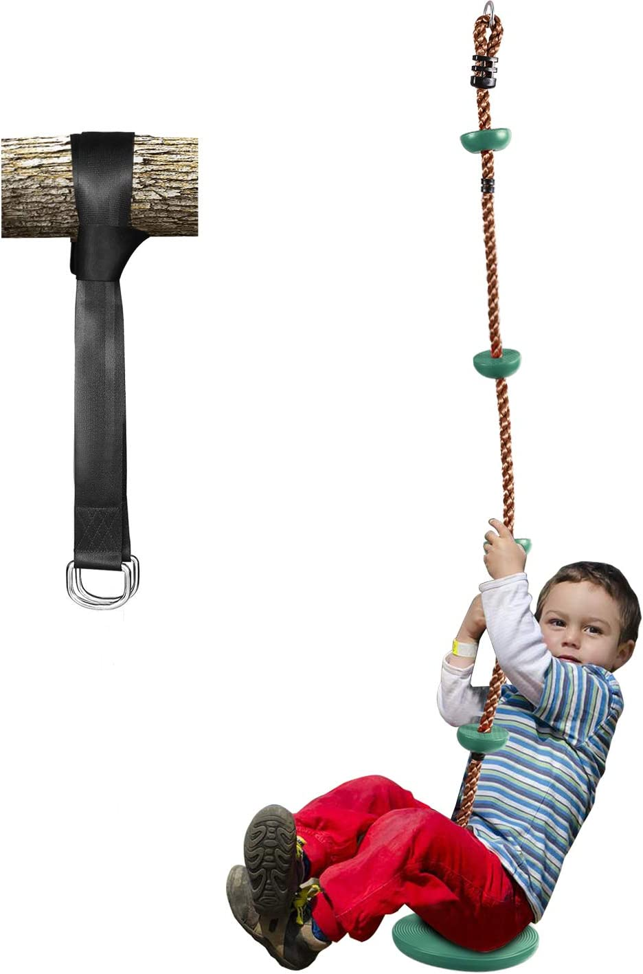 Red Kids and Adults Swing Seat with 57-86 Adjustable Rope,Tree Hanging Straps Hooks Rope,Non Slip EVA Soft Plastic Swing Seat Replacement Indoor and Outdoor