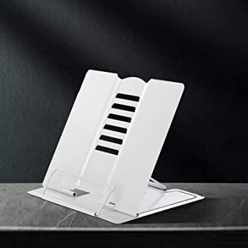 Music Book White Laptop,Tablet Metal Book Stand Folding Reading Book Holder with 6 Adjustable Angles and Paper Page Clip,Sturdy Desktop Rest Book Holder for Cookbook,Magazine,Textbooks,Document