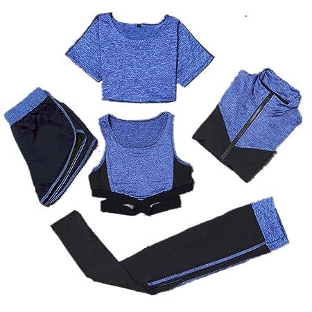 Conjuntos de ropa de yoga Traje deportivo para mujer 5pc ...