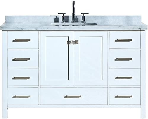 ARIEL 55 Inch Rectangle Sink White Bathroom Vanity Cabinet with Carrara White Marble Countertop 2 Soft Closing Doors and 9 Full Extension Dovetail Drawers No Mirror