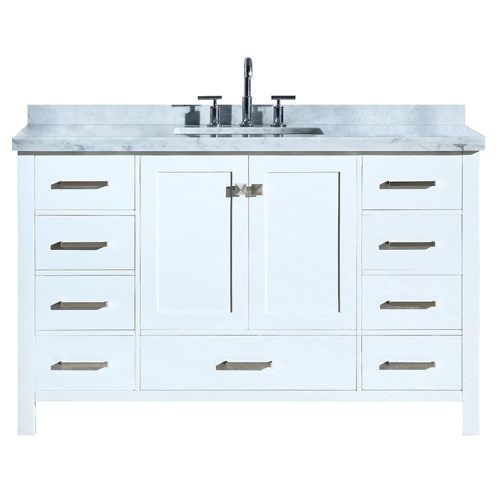 DKB Beckford Series 55 Inch Single Rectangle Sink Bathroom Vanity Cabinet in White Carrara White Marble Countertop 2 Soft Closing Doors 9 Full Extension Dovetail Drawers No Mirror