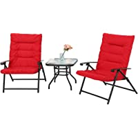 PHI VILLA Patio 3 PC Padded Folding Chair Set