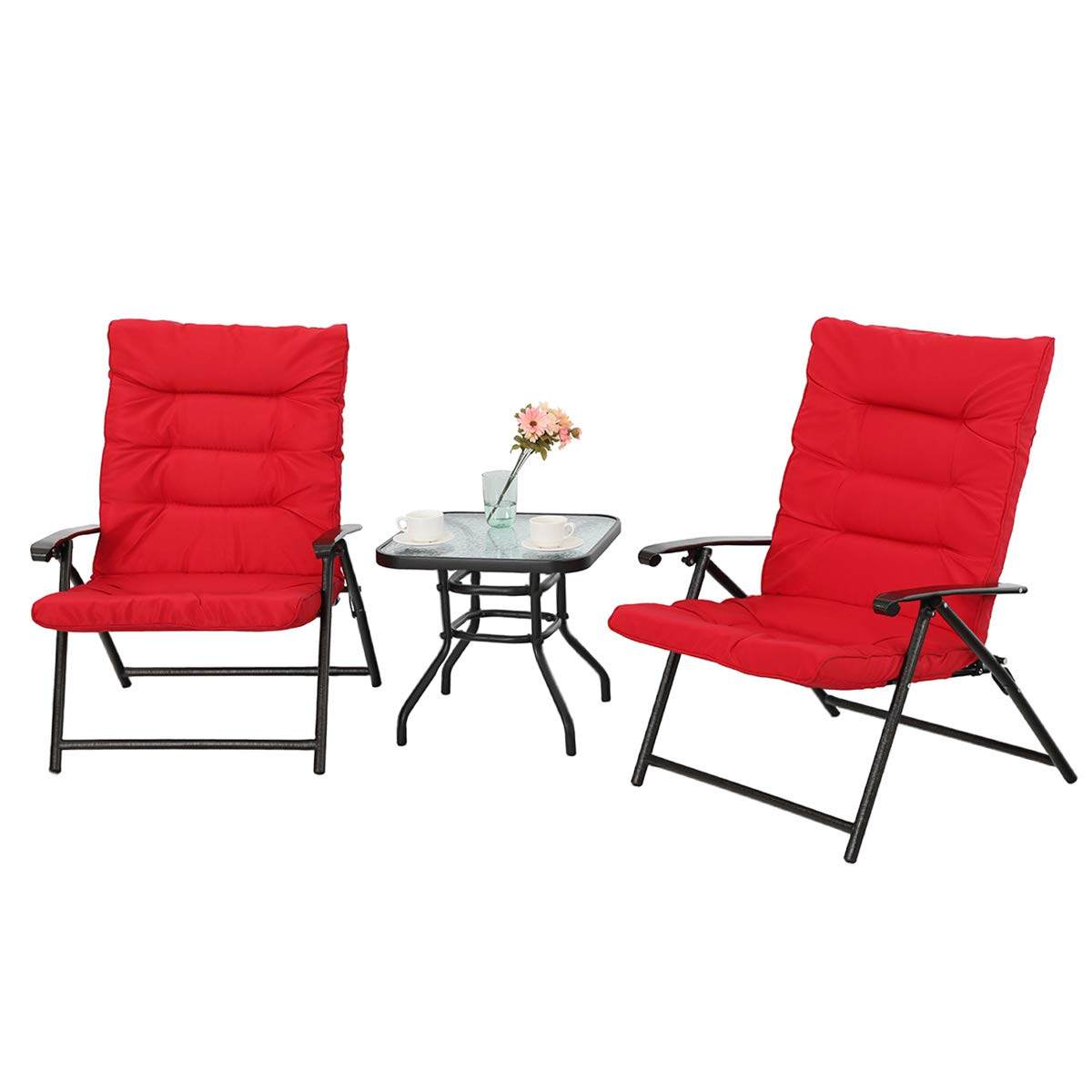 PHI VILLA 3 PC Padded Folding Bistro Set Patio Adjustable Reclining Indoor Outdoor Furniture, Red by PHI VILLA