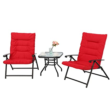 PHI VILLA Patio 3 PC Padded Folding Chair Set Adjustable Reclining Indoor  Outdoor Furniture, Red