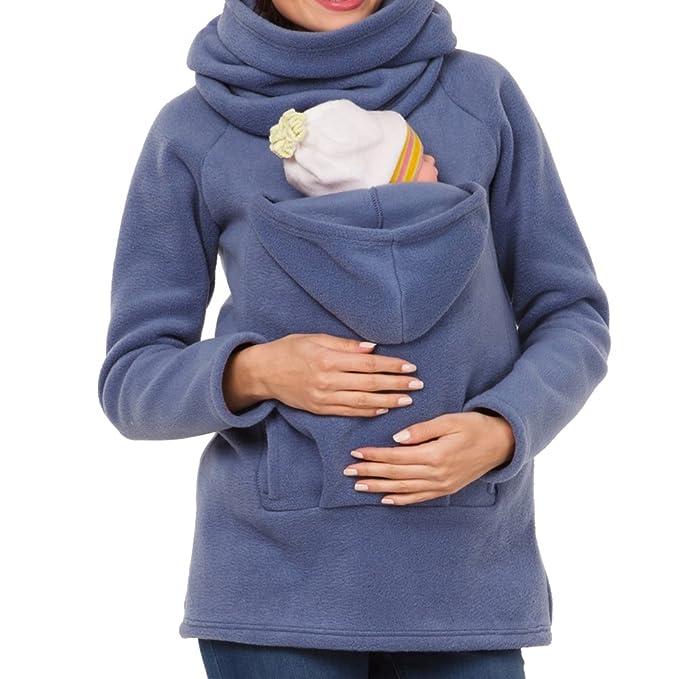 MissChild Sudadera Canguro con Capucha Mujer Premamá Sudaderas Portabebés  Chaqueta Outwear Otoño Invierno Portador de Bebé  Amazon.es  Ropa y  accesorios a13b64d8b586
