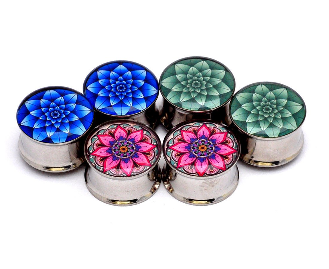 nugroho_mys Green Lotus/Blue Lotus/Flower - Set of 3 Pairs Double Flare Picture Plugs gauges (3/4'' - 19mm)